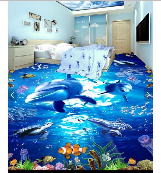 ФОТО 3d wallpaper custom 3d flooring painting wallpaper Underwater dolphin aquatic turtle ocean floor 3d living room photo wallpaper