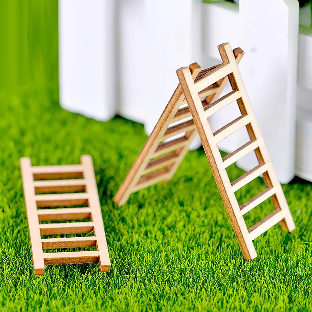 10 Pieces Micro Landscape Decor Wooden Ladder Ornament Garden DIY Crafts