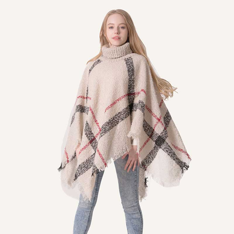 Women Winter Warm Poncho Shawl High Neck Knitted Turtleneck Classic Stole Plaid Big Cape Poncho Tassels Pullover Sweater
