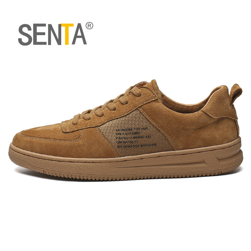 SENTA Classic Mens Skateboarding Shoes Elastic Good Quality Leather Stitching Colleger Streety Sneaker Outdoor Walking  ShoesSENTA Classic Mens Skateboarding Shoes Elastic Good Quality Leather Stitching Colleger Streety Sneaker Outdoor Walking  Shoes