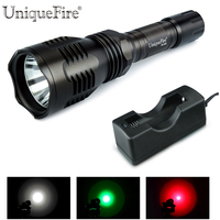 LED Flashlight Uniquefire HS-802 Cree XRE Led Green/Red/White Light Hunting Flashlight Torch+18650 Charger For Caving,Hiking
