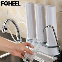FOHEEL Water filter Three Stage Desktop Water Purifier Healthy Ceramic Cartridge Home Kitchen Tap Faucet Water Filter