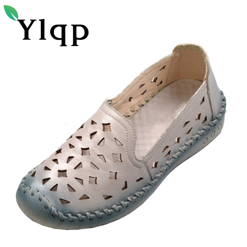 Ylqp 2017 Summer Genuine Leather Breathable Soft Bottom Mother Shoes for Women Big Plus Size Hollow Out Flat Shoes Zapatos Mujer artmu fashion women sandals shoes hollow breathable handmade genuine leather shoes woman beach shoe soft bottom 2018 summer new