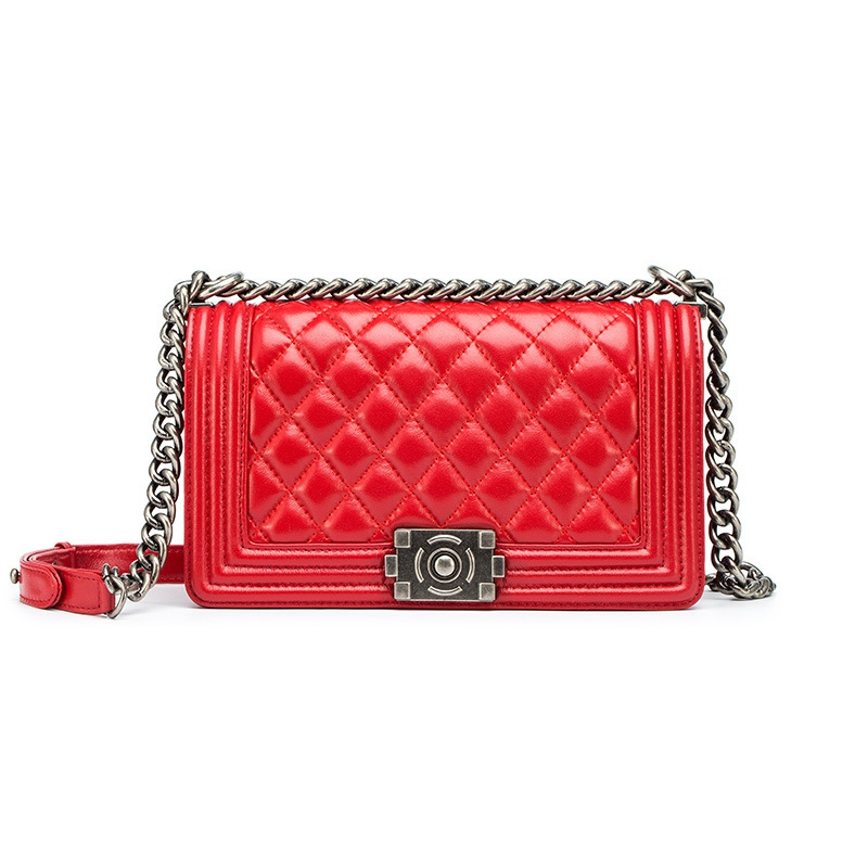 ФОТО 2107 Summer Fashion Women Crossbody Bags With Chain Woman Lambskin Leather Bags Designer Brand Plaid Purse Magnetic Snap Closure