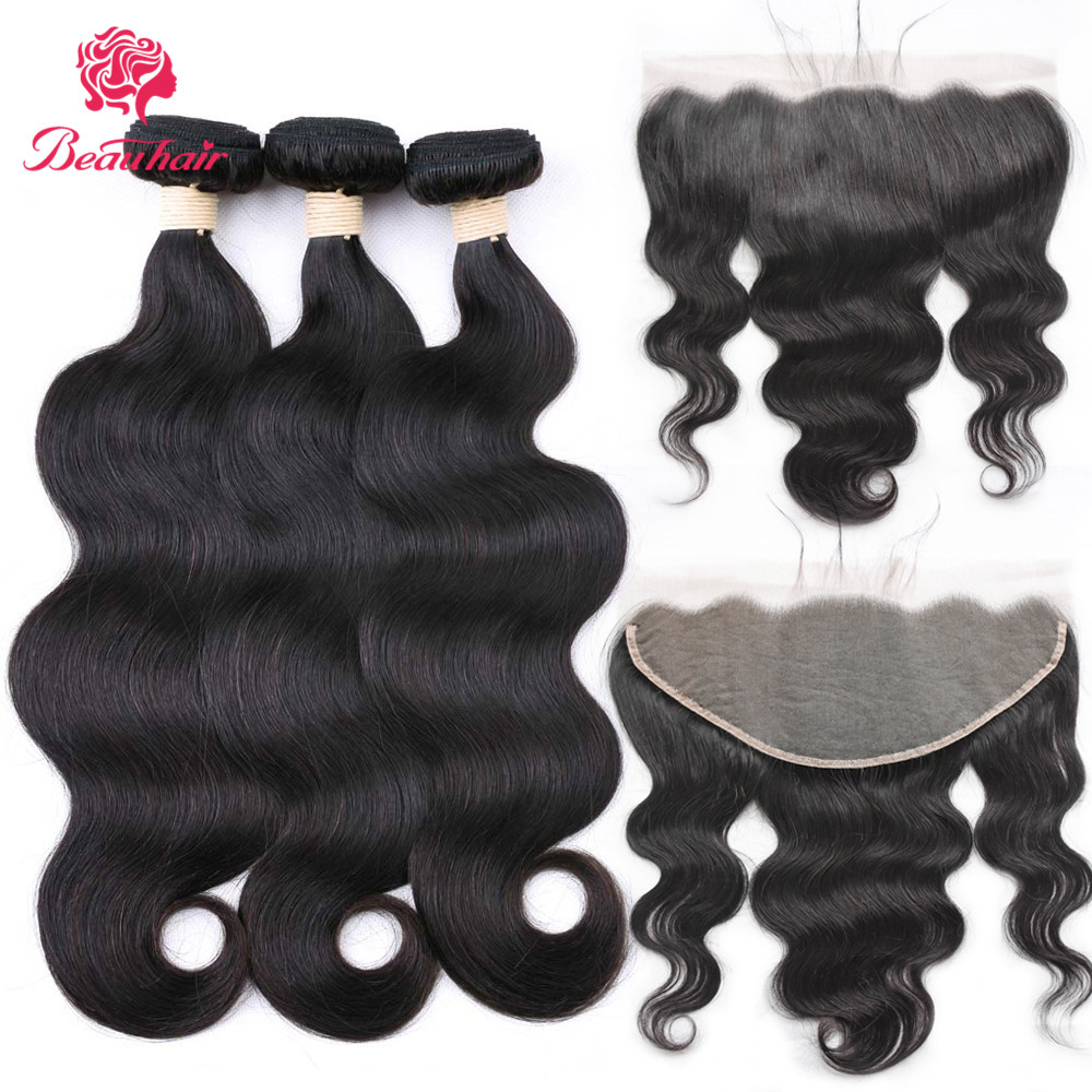 Beauhair 8-24inch Malaysia Body Wave Bundles Human Hair Weave2/PCSWith 13*6 Lace Frontal  Non Remy Hair Extension Nature Color