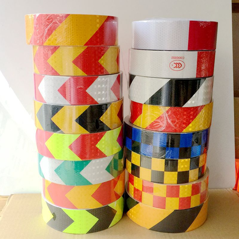 5cm*45m Truck Annual Inspection Honeycomb Lattice PVC Reflective Warning Safety Self-adhesive Tape