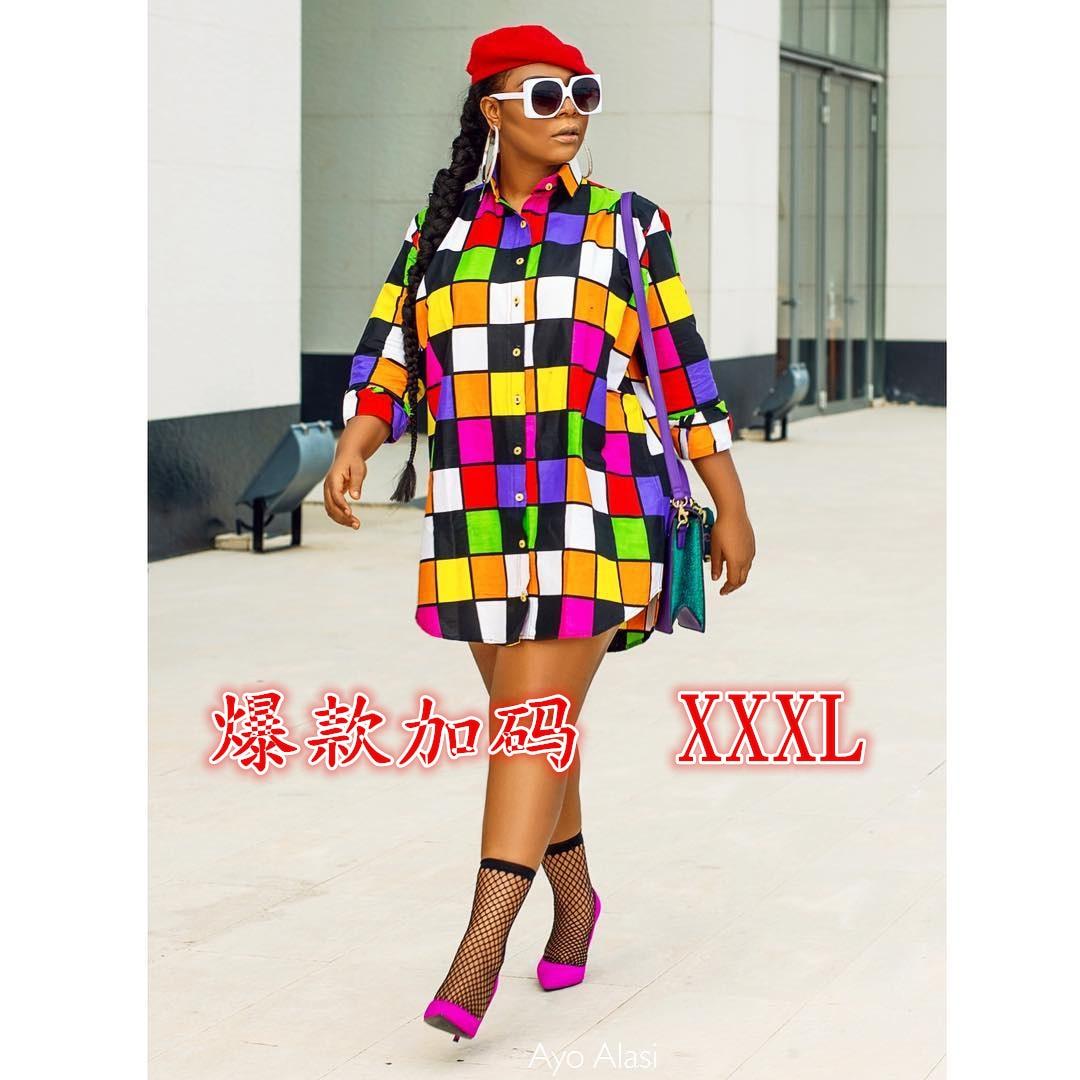 Весна и лето 2019, мода, новый стиль, Африканский Национальный стиль, модная разноцветная клетчатая рубашка с свободным солнцезащитным платье...