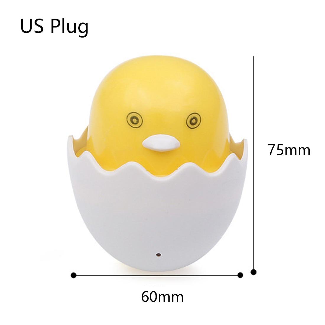 Yellow Duck US Plug Light Control Sensor Gift for Children Cute LED Night Light Wall Socket Lamps Bedroom Lamp AC 110-220V