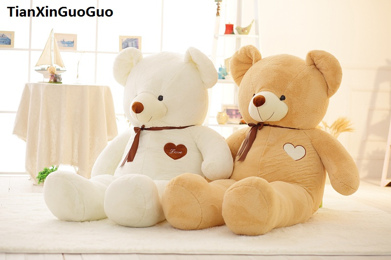 stuffed toy large 100cm love heart teddy bear plush toy silk belt bear soft doll throw pillow birthday gift s0364 new stuffed light brown squint eyes teddy bear plush 220 cm doll 86 inch toy gift wb8316