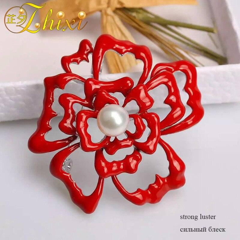 ZHIXI Brosche Für Frauen Edlen schmuck Weiße Natürliche Perle - Edlen Schmuck - Foto 5