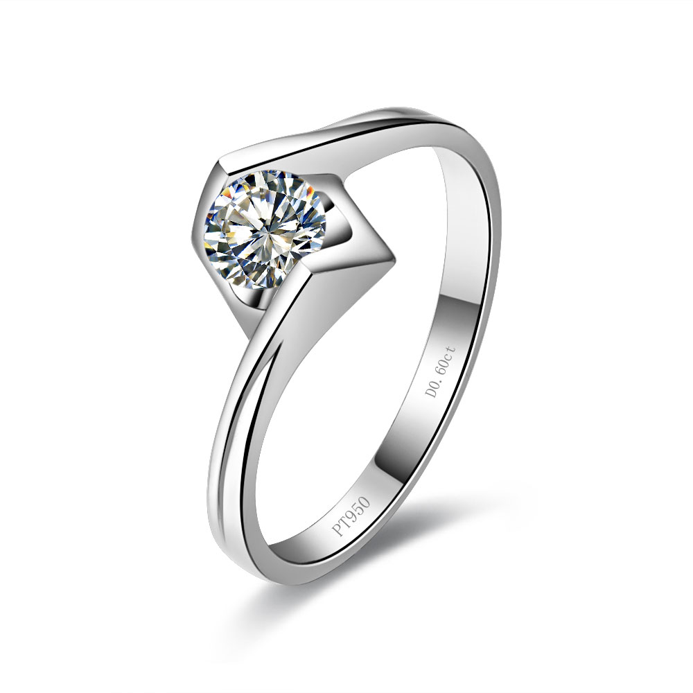 18k White Gold Plated Propose Jewelry 06ct Engagement Ring Sterling Silver  Pt950 Stamped Solitaire Mancreat Diamond Ring