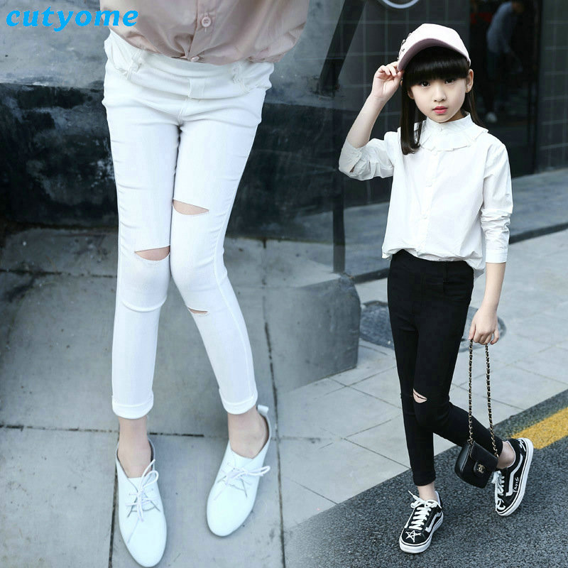 Ripped Jeans Pants For Baby Girls Elastic Waist White -2906