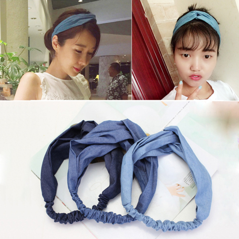 Boutique Denim Scrunchie Women Girls Headband Hair Head Bands Hoop Accessories For Lady Hairband Headdress Bows Headwear shanfu women zebra stripe sinamay fascinator feather headband fashion lady hair accessories blue sfc12441