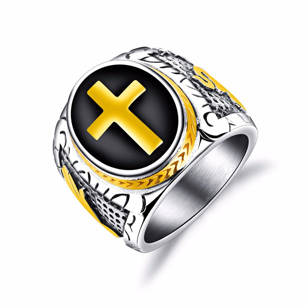 Fashion Titanium Steel Cross Mens ring Vintage 21MM Wide Gold Color finger ring Size 7/8/9/10/11/12 Punk Jewelry