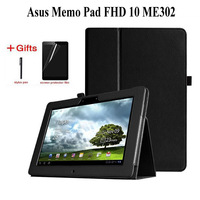 Litchi PU Leather case Voor Asus Memo Pad FHD 10 ME301T ME302 ME302C ME302KL 10.1 inch tablet PU leather Cover case + Film + Pen