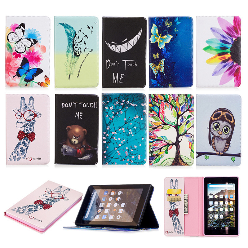 Fashion Patterns PU Leather Flip Case for Amazon Kindle Fire 7 Tablet 2017 Smart Cover for