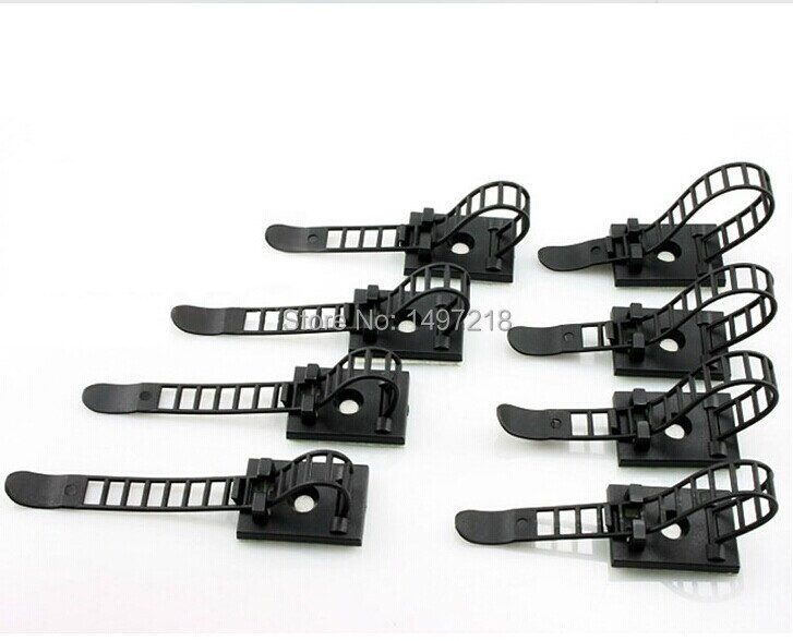 freeshipping popular 100pcs cl 1 3m sticky adhesive cable clips bracket 0 17mm length adjustable