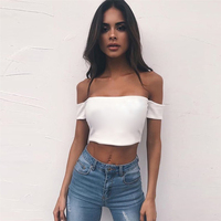 Short Sleeve Strapless Crop Tops Women Slash Neck Stretchy Mini Tee Shirt Femme Backless Sexy Black