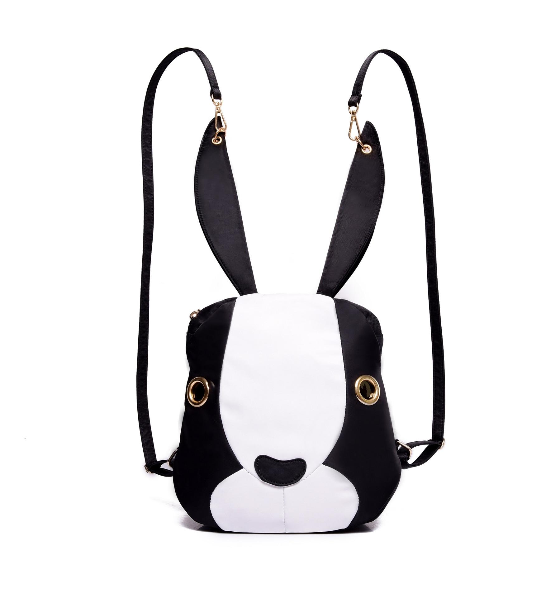 2016 noir blanc rouge fille sac à dos femmes designer sac à dos de haute qualité doux adorable lapin longues oreilles sac à bandoulière sacs à dos