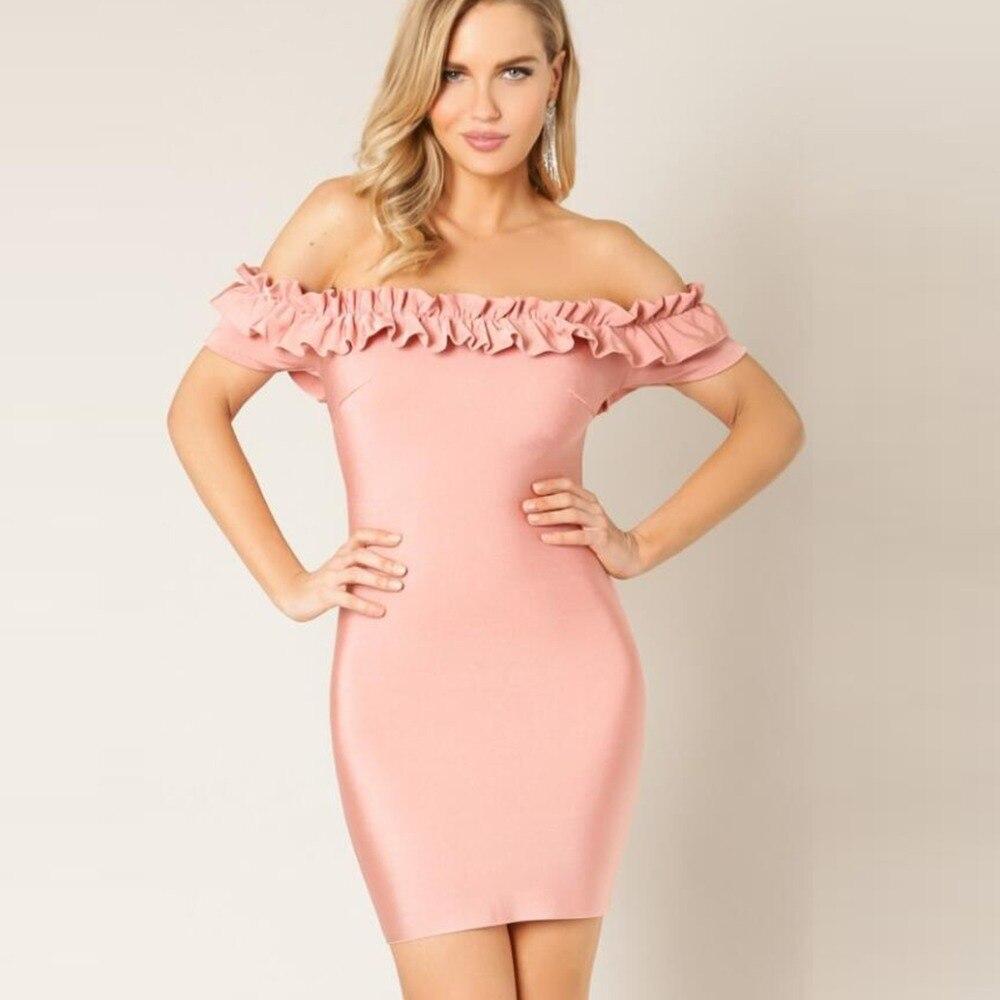 Women Pink Ruffles Slash neck off shoulder short Sleeve mesh Bandage 2018 vestidos bodycon Celebrity Party Dress