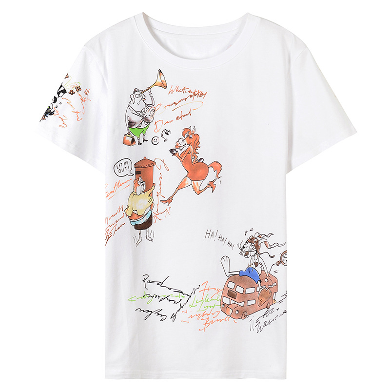 2018 Runway Designer Luxury T shirts for Women Cartoon Animal Print Graffiti Harajuku Summer Top Tee Female White