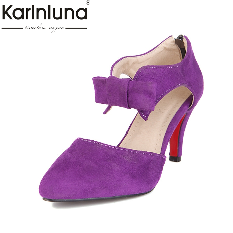 KARINLUNA 2018 pointed toe large size 33-43 sweet bow women shoes thin high  heels pumps bride wedding shoes woman a88edb5e0bd6