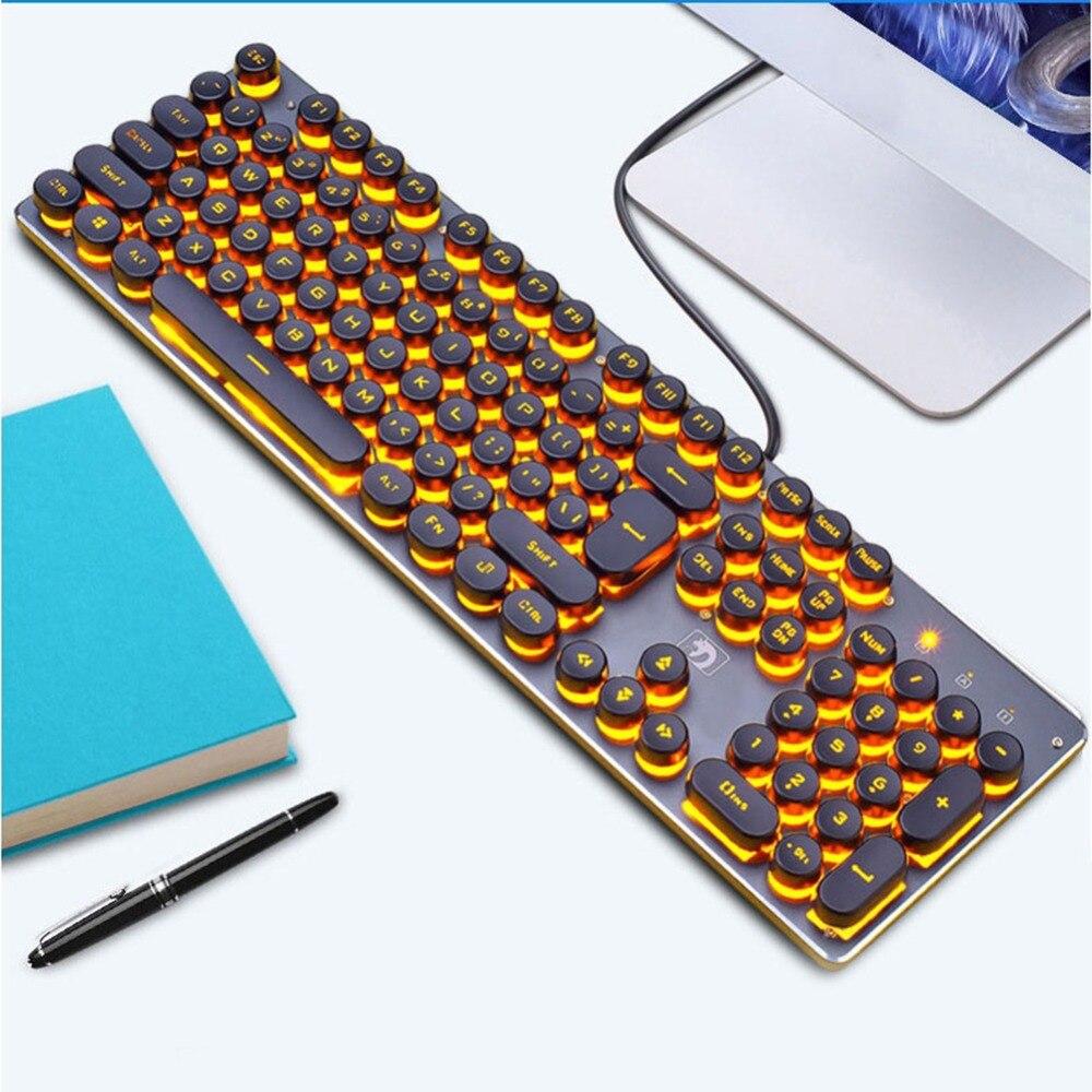 VAKIND Backlit Gaming Keyboard Steampunk Retro Round Keycap USB Wired Glowing Metal Panel Computer Game Keyboard for Laptop PC