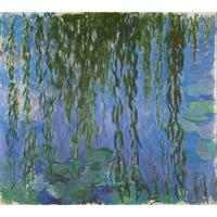 Pop art hand painted canvas oil paintings Water Lilies with Weeping Willows modern Claude Monet decor for living room