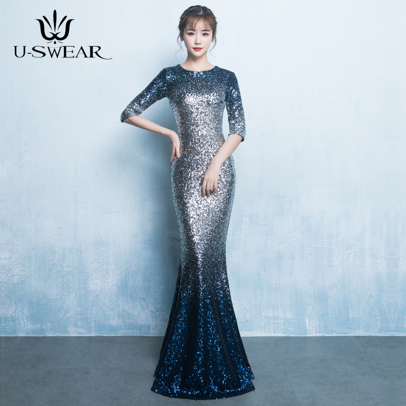 U-SWEAR 2019 New Fashion O-Neck Half Sleeve Floor-Length Slim   Evening     Dresses   Party Prom Formal Gown Vestidos De Fiesta De Noche