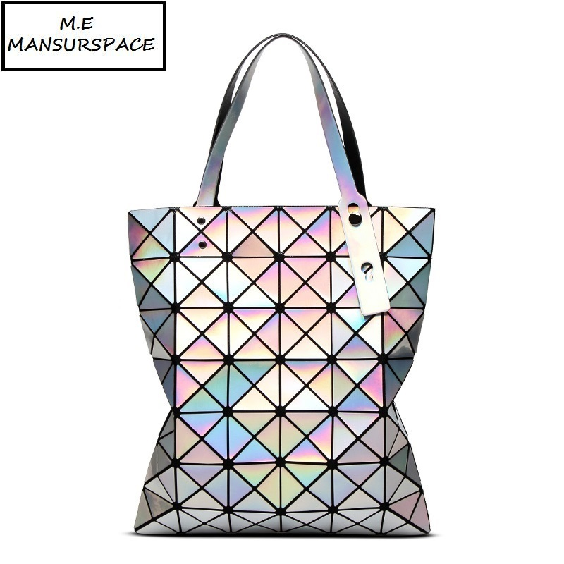 MANSURSPACE Fashion Handbags Laser Geometry Diamond Shape PVC holographic bag Patchwork 6*7 Women Handbag Shoulder bao Bags geometry laser women bao bao bags women shoulder bag transformation luminous laser geometric bag diamond lattice women handbags