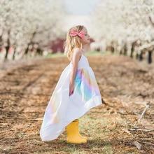 ФОТО 2018 fashion ins girls dress princess summer cotton short front long back solid rainbow print sling dresses children clothing