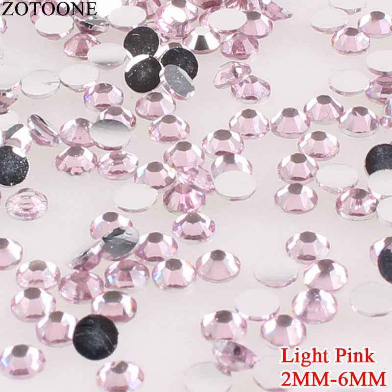 ZOTOONE 3D Light Pink Resin Non Hotfix Nail Rhinestone For Clothes Crafts Shoes Applique Rhinestone Nail Art Decoration Strass E