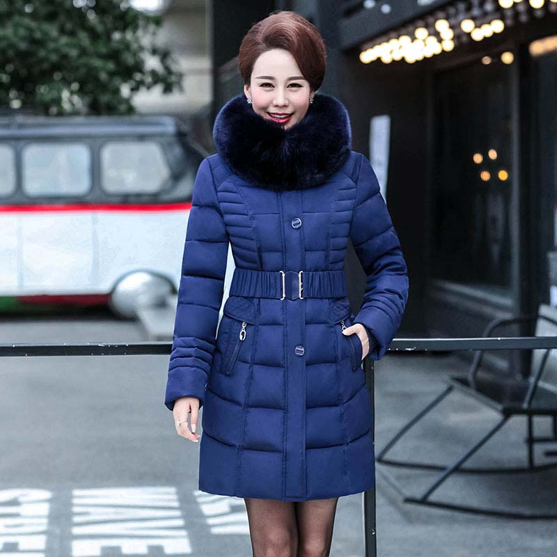 2017 Winter New Women's Hooded Jacket Slim Long Middle-aged Cotton Caot Solid Regular Zipped Jacket and Coat women zipped slim jacket