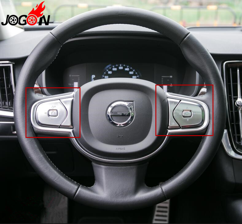 6pcs Accessories Steering Wheel Button Switch Trim Cover For Volvo XC60 XC90 S90 2018 2019 Car styling6pcs Accessories Steering Wheel Button Switch Trim Cover For Volvo XC60 XC90 S90 2018 2019 Car styling