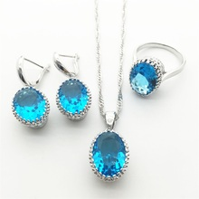 Hotting Sea-Blue Rhinestone 925 Silver Jewelry Sets For Women Necklace Pendant Earrings Rings Free shipping