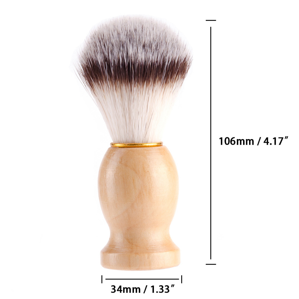ZY 2in1 Synthetic Nylon Soft Shaving Brush For Man Wood Handle+ Stainless Steel Stand Holder Barber Straight Razor Tool 5