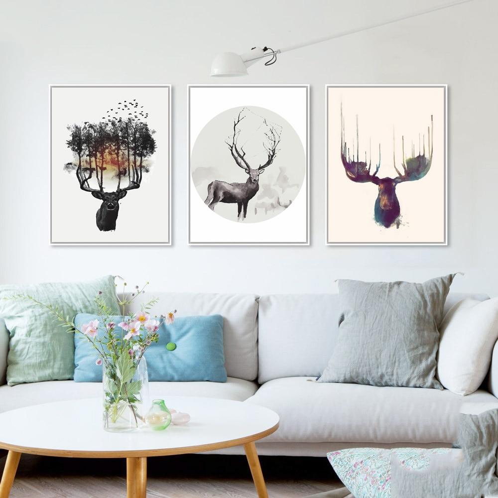 Nordic Minimalist Modern Watercolor Canvas Painting Art HD Print Poster Elk Deer Head Wall Stickers Obývací pokoj Domácí Dekor Mix