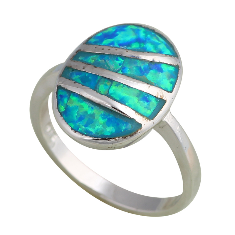 New arrival Silver Stamped Blue fire Opal Rings fashion jewelry Prom Party Birthday USA Size #6.75 OR399A