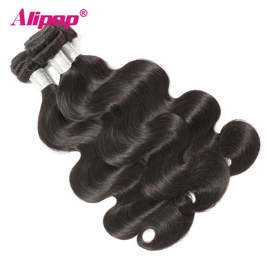 3 Bundles Körper Welle Mit Frontal Peruanischen Bundles Mit Frontal 360 Verschluss Mit Bundles Nahen/Free/Drei Teil alipop Remy Haar