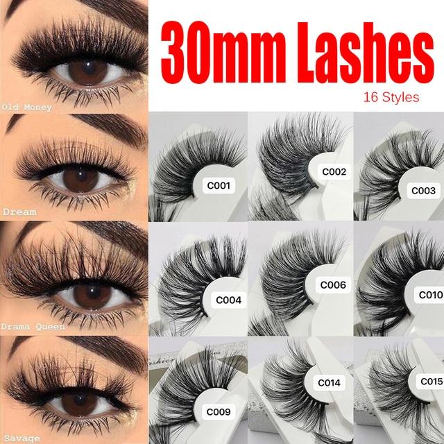 1 Pair 30mm Mink Lashes 100% mink Hair False Eyelashes Wispy Fluffy Lashes Eye Makeup Tools Multilayers Handmade Natural Lashes 4