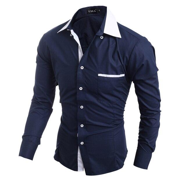 Men Shirt 2017 Fashion Brand Men'S Cuff Striped Long-Sleeved Shirt Male Camisa Masculina Casual Slim Shirt
