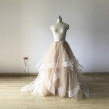 Pretty Champagne Ruffles Bridal Tulle Skirts A-line Elegant Formal Wedding Tutu