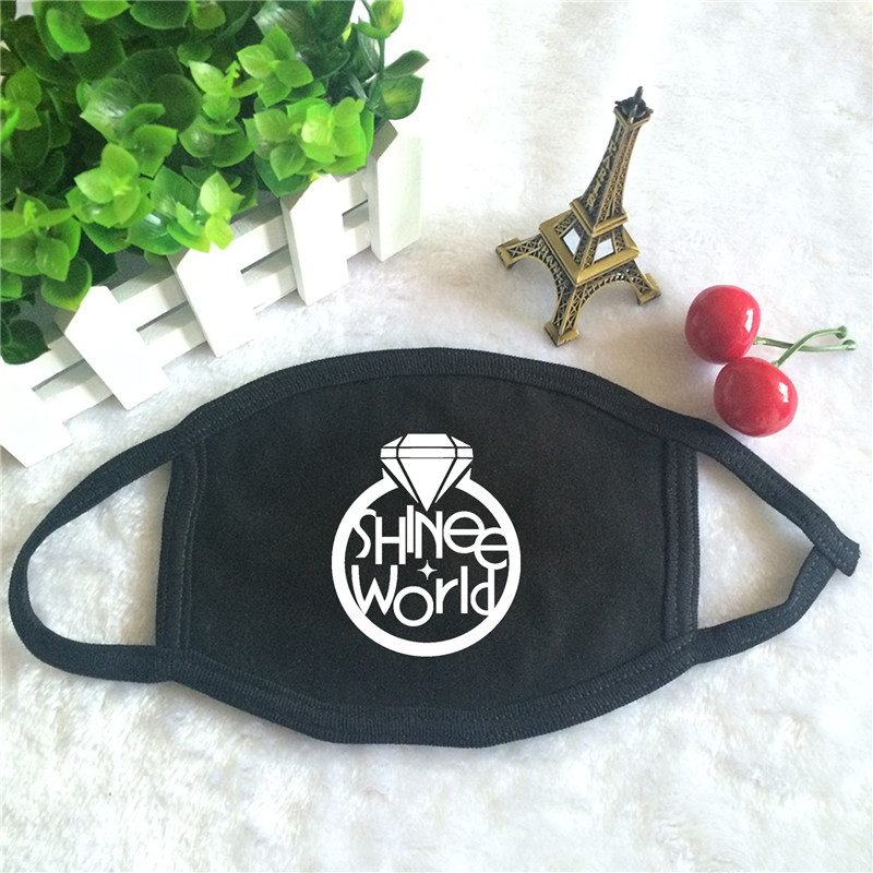 Kpop SHINEE Album The Story Of Light Logo Print K-pop Fashion Face Masks Unisex Cotton Black Mouth Mask