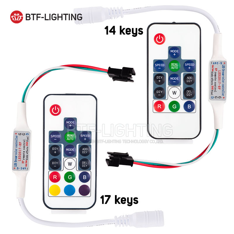 WS2811/WS2812B Led RGB Pixel Controller Remote Wireless RF Digital Color Strip Light DC5V/DC12V ws shoes ws002awpsm12 ws shoes