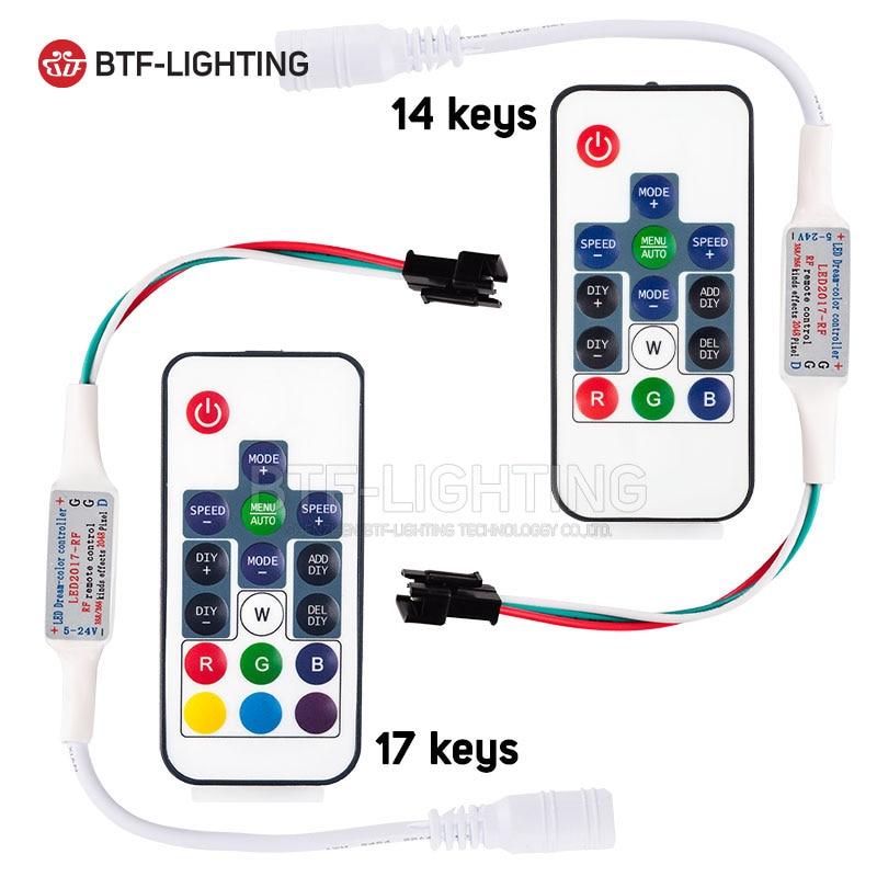 ws2811 ws2812b led rgb pixel controller remote wireless rf digital color strip light dc5v dc12v. Black Bedroom Furniture Sets. Home Design Ideas