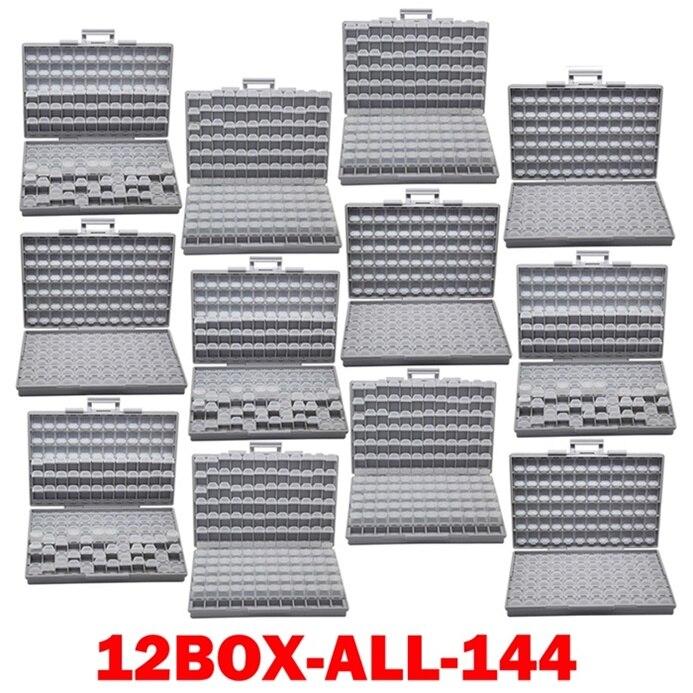 AideTek SMD хранения резистор SMT конденсатор с алюминиевой крышкой, электроника для хранения разного рода дисков и органайзеры прозрачный ящик для хранения ящик пластиковый боксал - Цвет: 12BOX-ALL-144