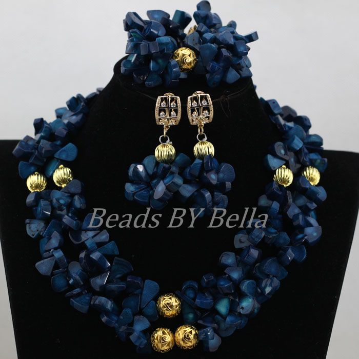 2017 New Design Navy Blue Coral Beaded Necklace Set Fashion Costume Nigerian Wedding Bridal Jewelry Sets Free Shipping ABK670 футболка vero moda цвет черный page 1