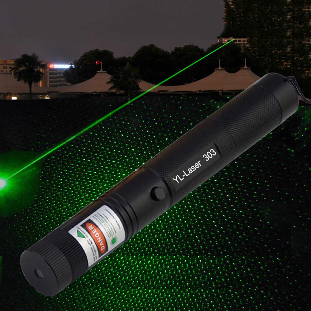 ירוק מצביע לייזר 532nm 5 mW 303 לייזר עט גבוהה כוח מתכוונן הכוכבים ראש שריפת התאמה לייזר ללא סוללה