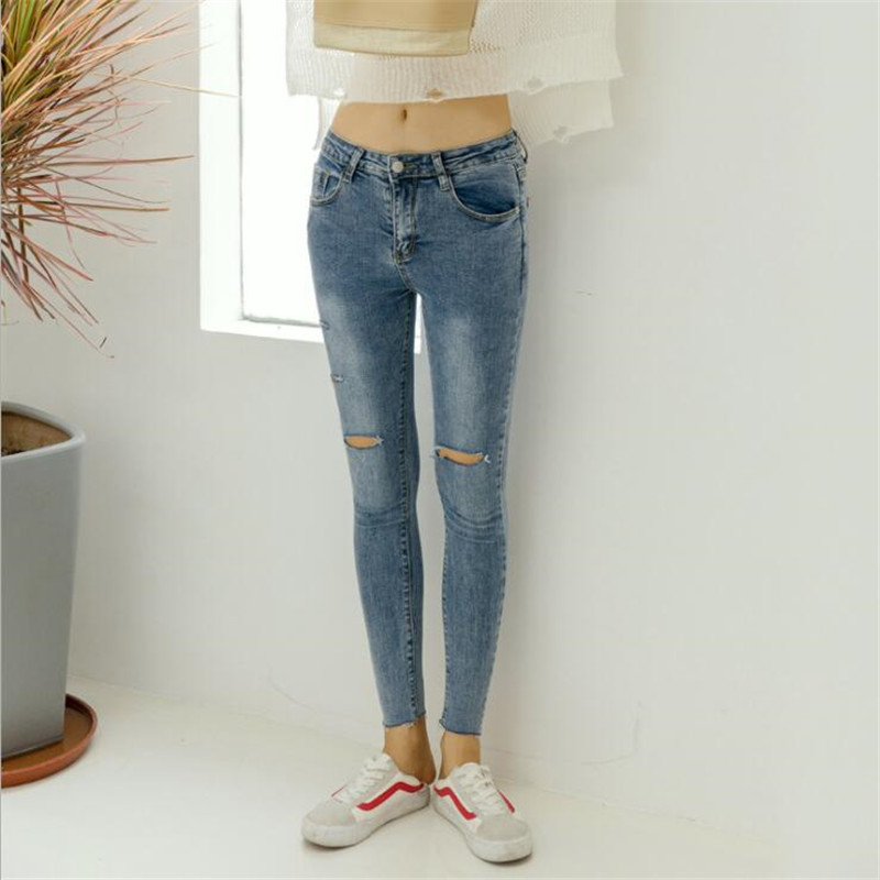 Skinny Alta Verano Cintura Agujero Novio Vaqueros Azul Cielo Lápiz De Pantalones Rasgado Nueva Jeans Mujer Cool Denim EFITqF