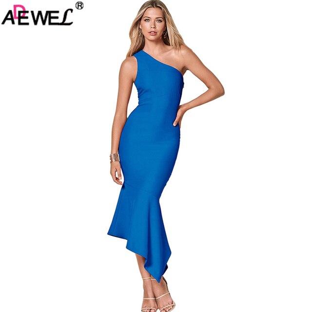 e2ce0cf46d52 ADEWEL 2018 Elegant Sexy Party Dress Women Ruffle One Shoulder Bodycon  Summer Dress Blue Black Midi Dress Tulip Mermaid Dress